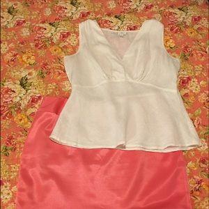 Silky Cato pleated skirt & J. Jill linen blouse